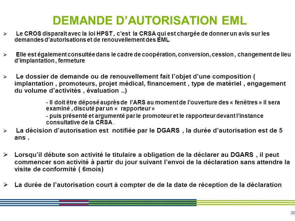 DEMANDE D'AUTORISATION EML