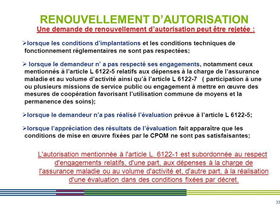 RENOUVELLEMENT D'AUTORISATION