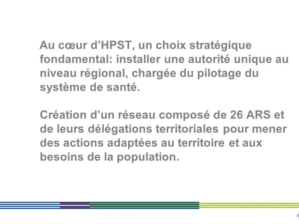 Au cœur d'HPST, un choix stratégique fondamental: installer une autorité unique au niveau régional, chargée du pilotage du système de santé.
