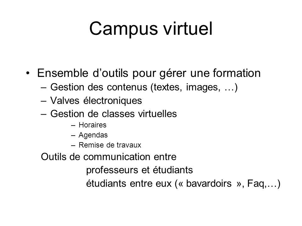 Campus virtuel Ensemble d'outils pour gérer une formation