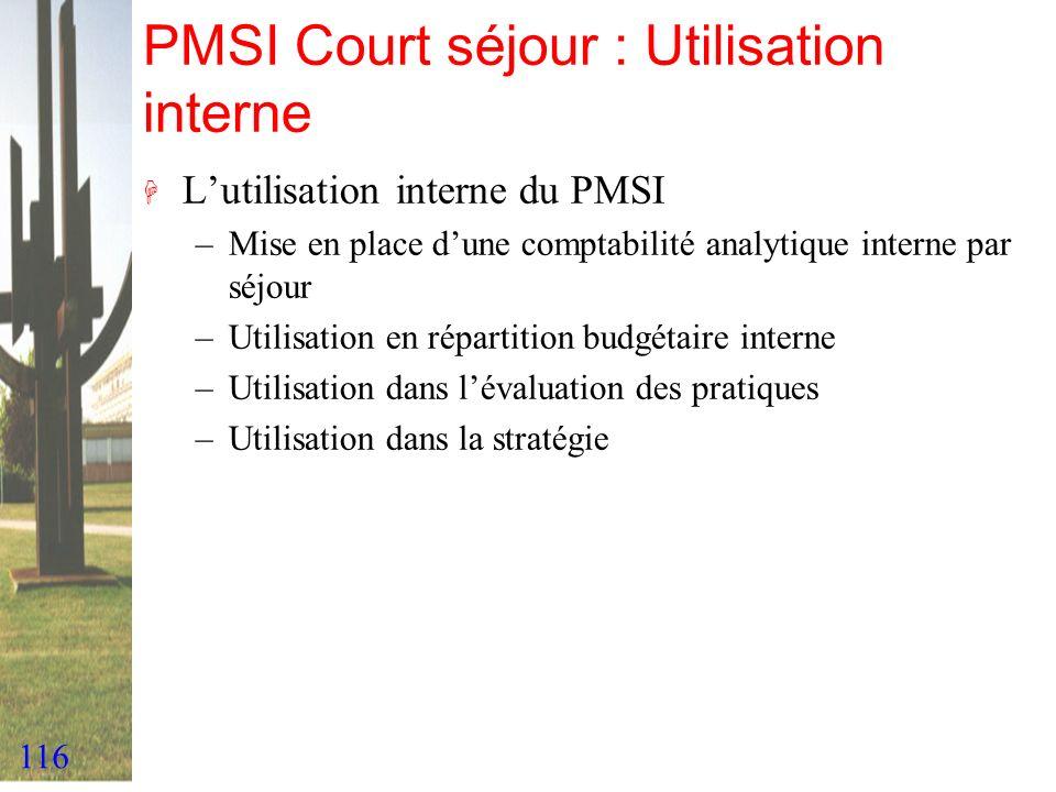 PMSI Court séjour : Utilisation interne