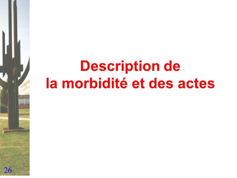 Description de la morbidité et des actes