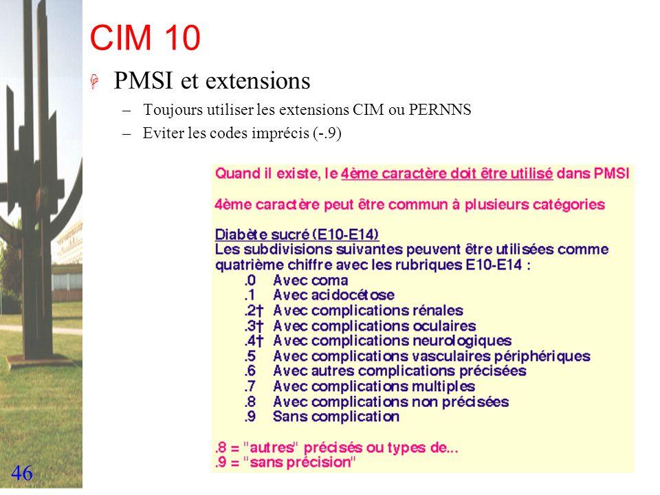 CIM 10PMSI et extensions.Toujours utiliser les extensions CIM ou PERNNS.