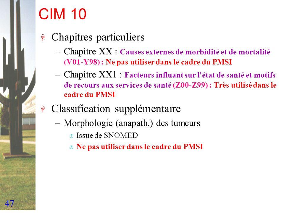 CIM 10 Chapitres particuliers Classification supplémentaire