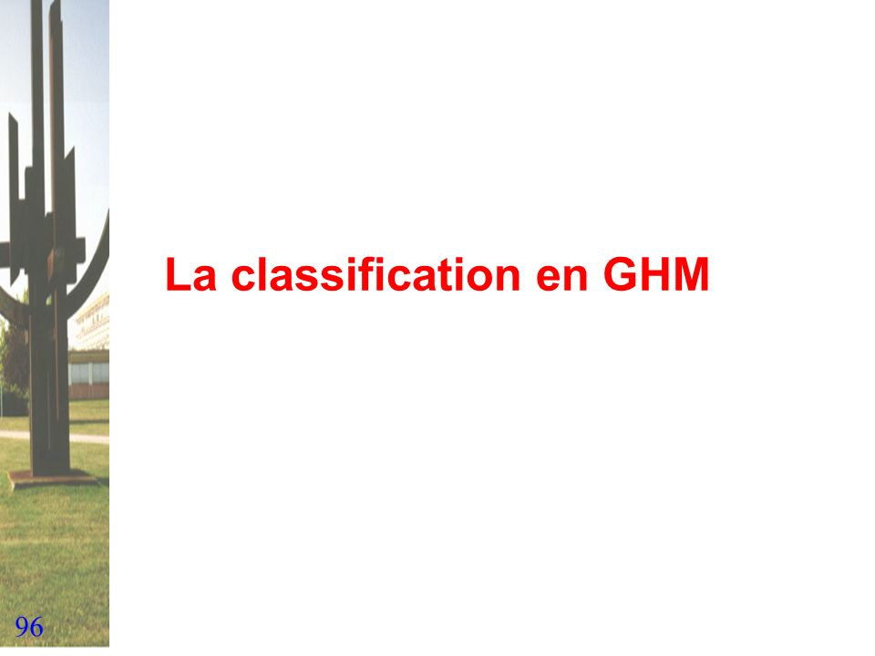 La classification en GHM