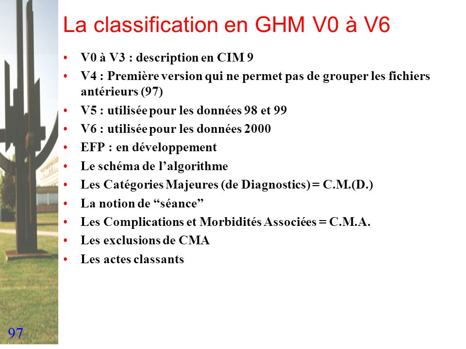 La classification en GHM V0 à V6