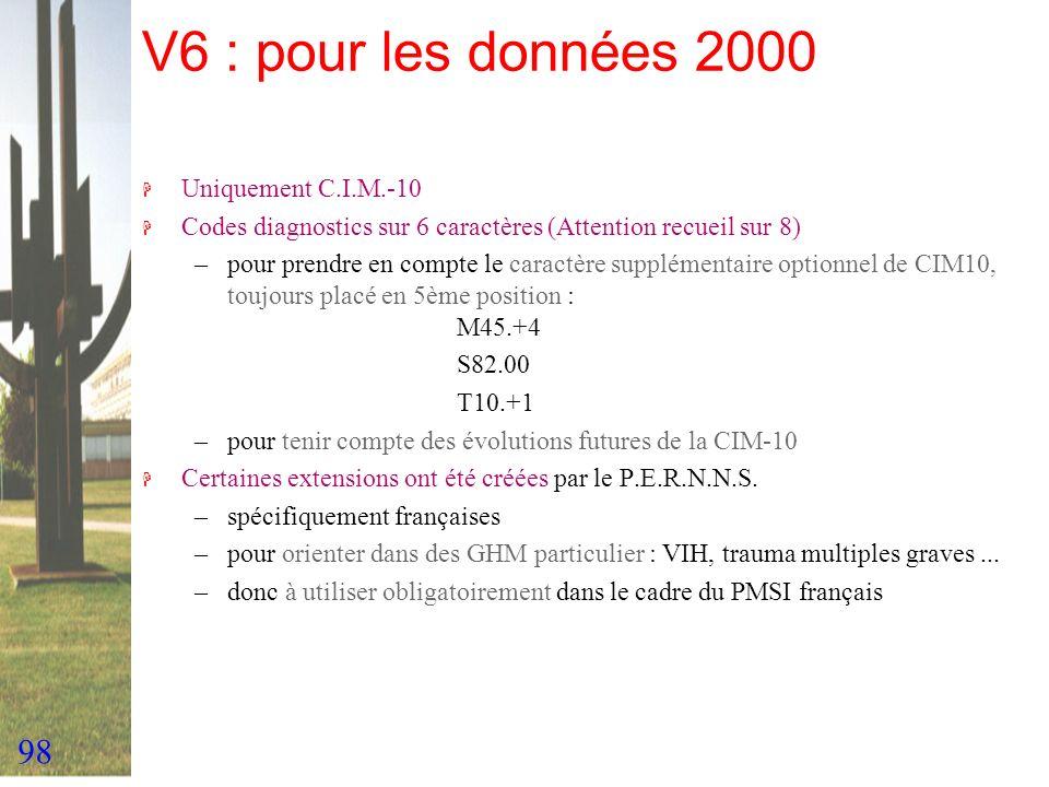 V6 : pour les données 2000 Uniquement C.I.M.-10