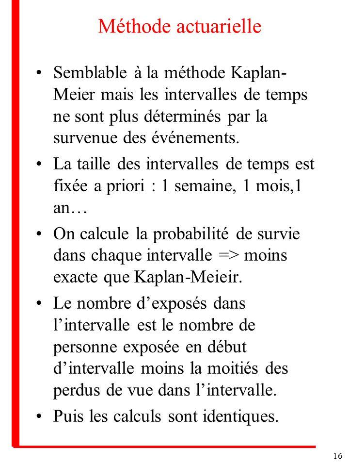 Méthode actuarielle Semblable à la méthode Kaplan-Meier mais les intervalles de temps ne sont plus déterminés par la survenue des événements.