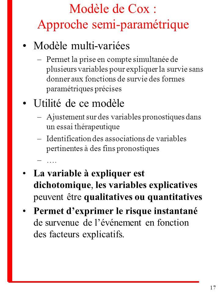 Modèle de Cox : Approche semi-paramétrique