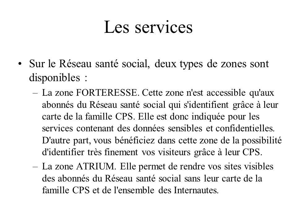 Les services Sur le Réseau santé social, deux types de zones sont disponibles :