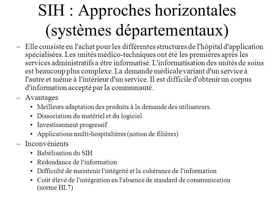 SIH : Approches horizontales (systèmes départementaux)
