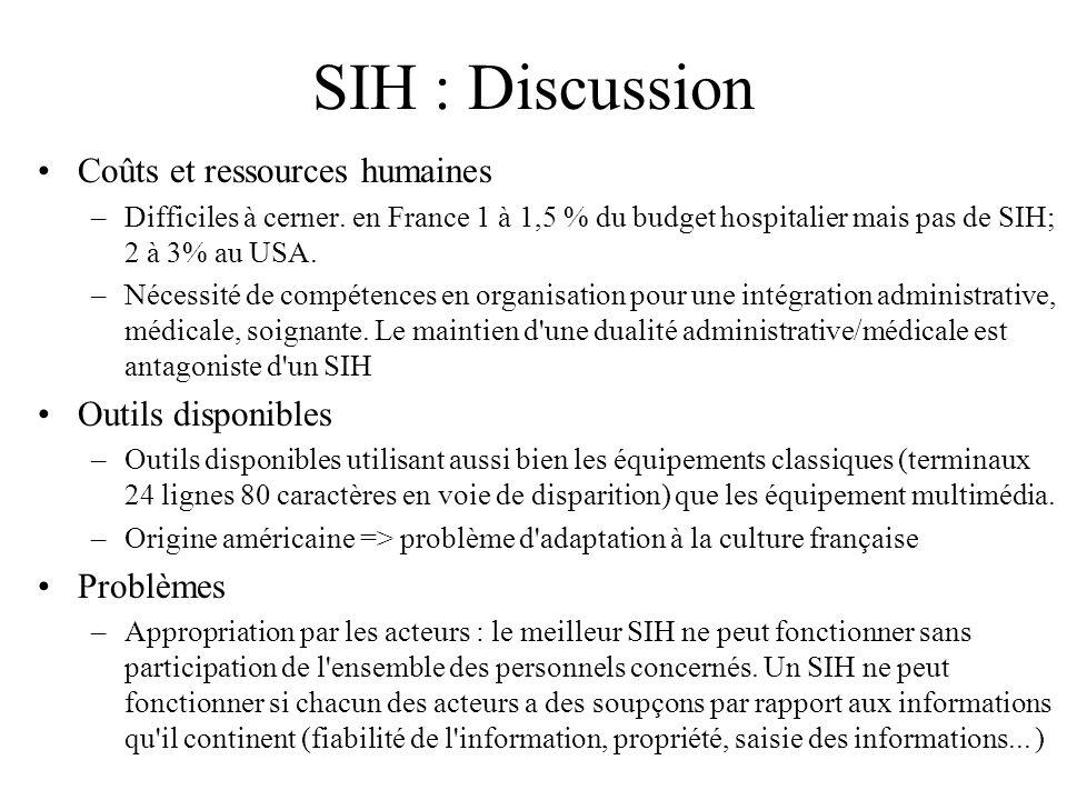 SIH : Discussion Coûts et ressources humaines Outils disponibles