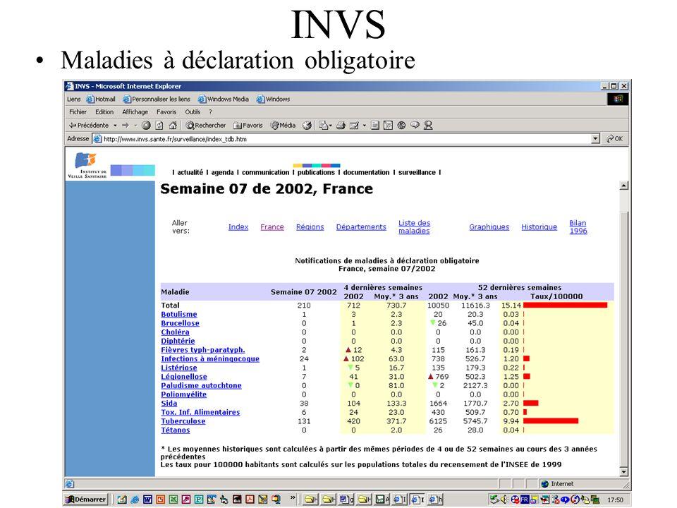 INVS Maladies à déclaration obligatoire