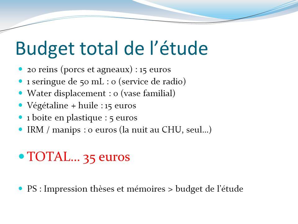 Budget total de l'étude