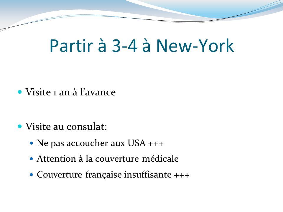 Partir à 3-4 à New-York Visite 1 an à l'avance Visite au consulat: