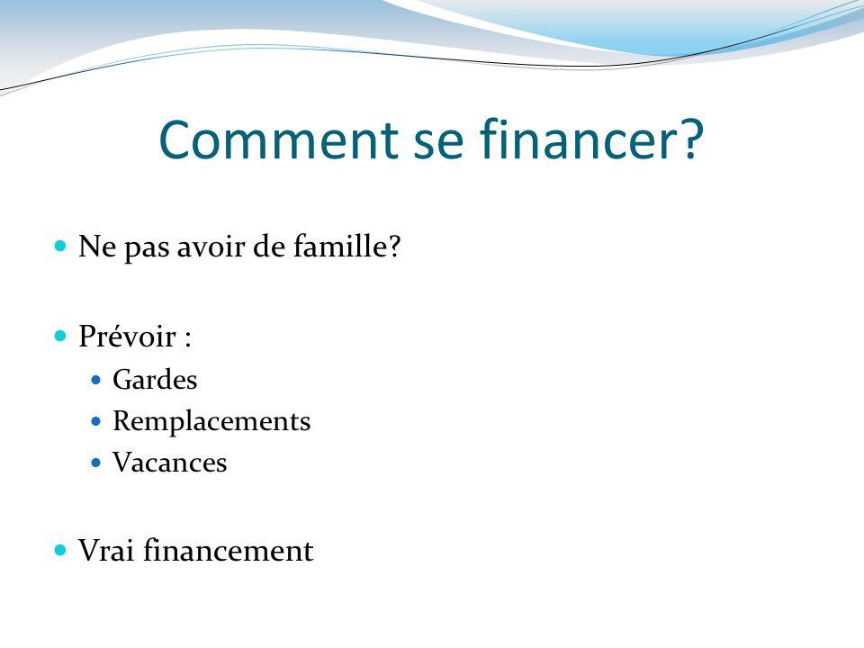 Comment se financer Ne pas avoir de famille Prévoir :