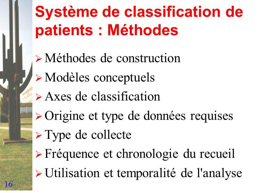 Système de classification de patients : Méthodes