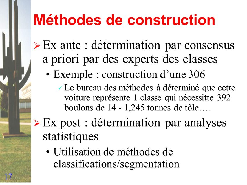 Méthodes de construction
