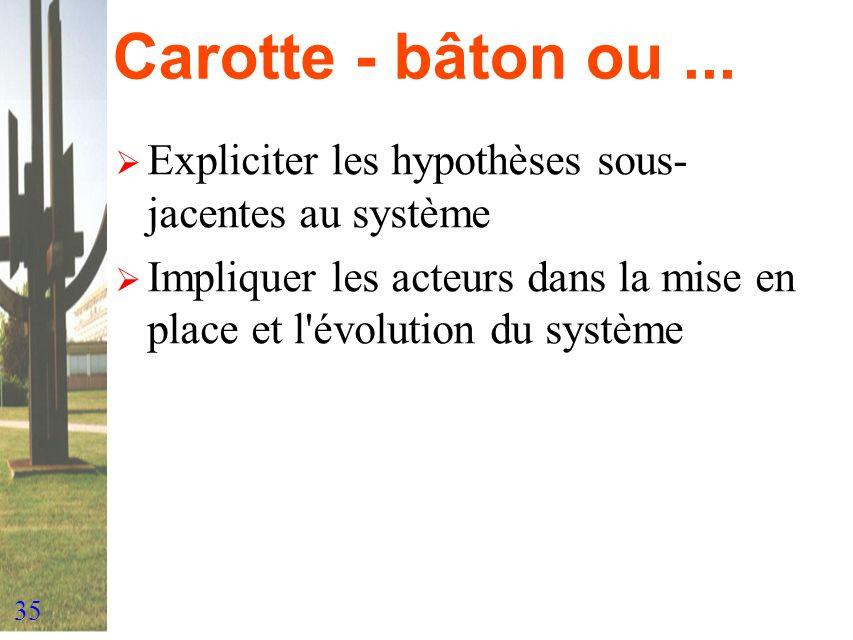 Carotte - bâton ou ... Expliciter les hypothèses sous-jacentes au système.