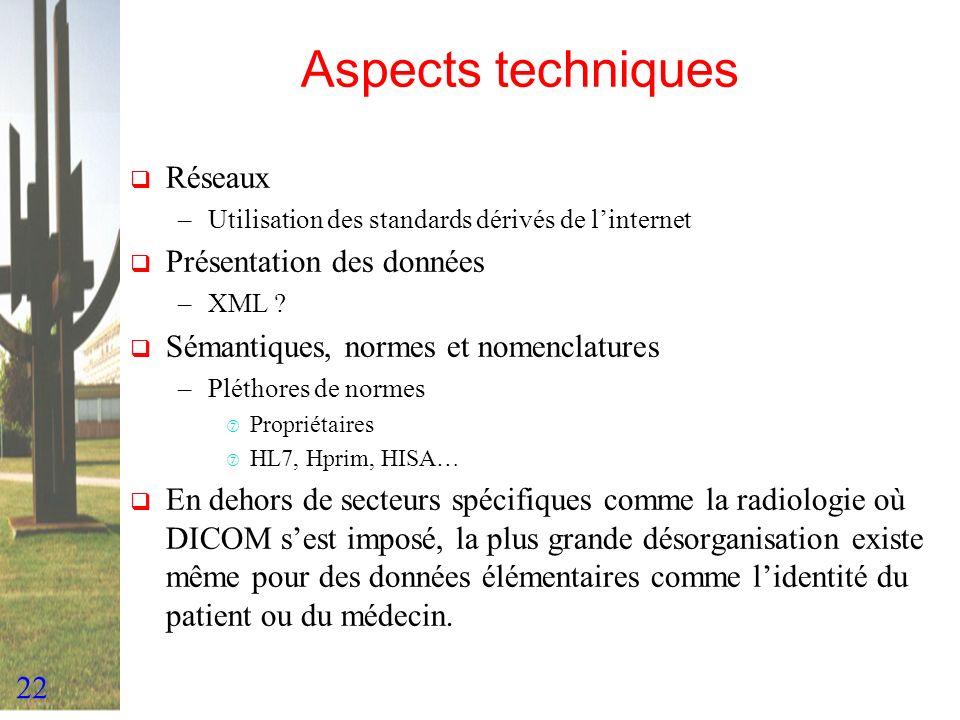 Aspects techniques Réseaux Présentation des données