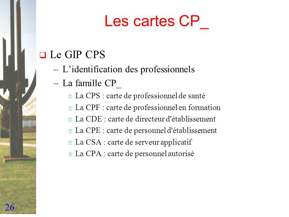 Les cartes CP_ Le GIP CPS L'identification des professionnels