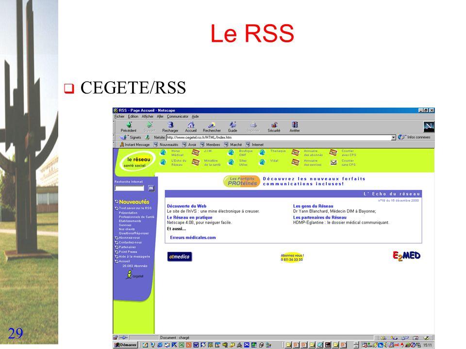 Le RSS CEGETE/RSS