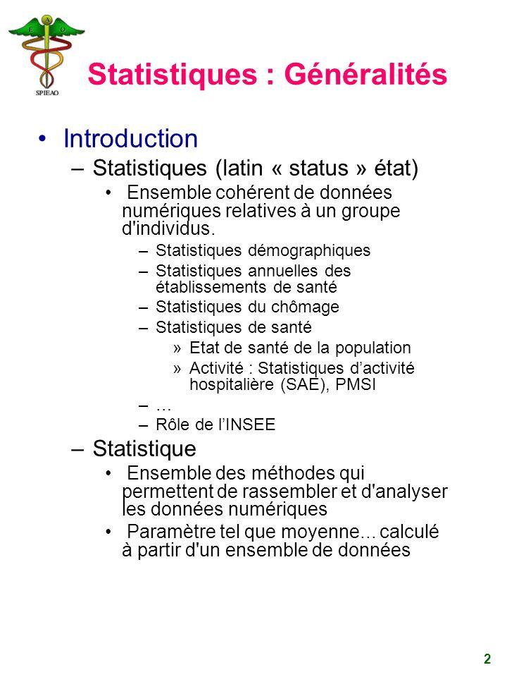 Statistiques : Généralités