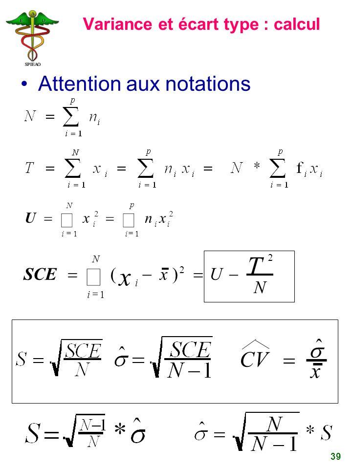 Variance et écart type : calcul