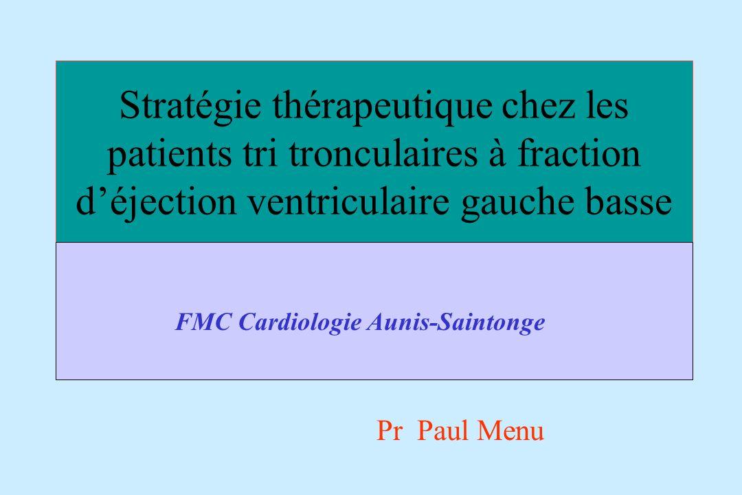 Stratégie thérapeutique chez les patients tri tronculaires à fraction d'éjection ventriculaire gauche basse