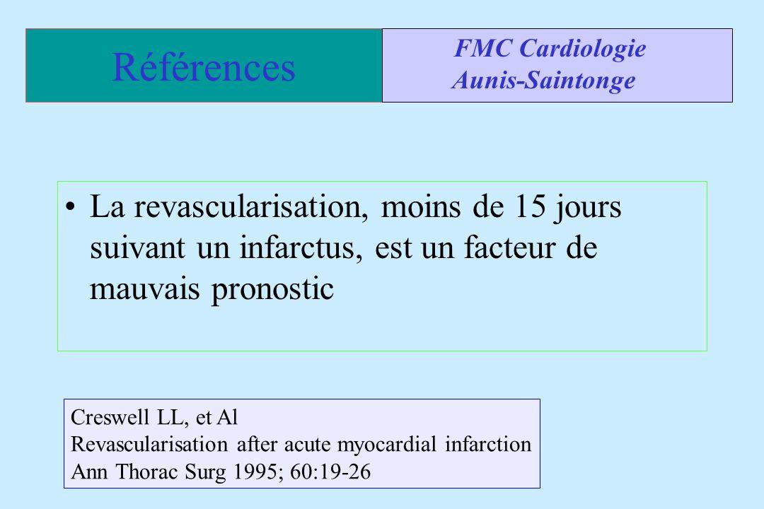 Références FMC Cardiologie. Aunis-Saintonge. La revascularisation, moins de 15 jours suivant un infarctus, est un facteur de mauvais pronostic.