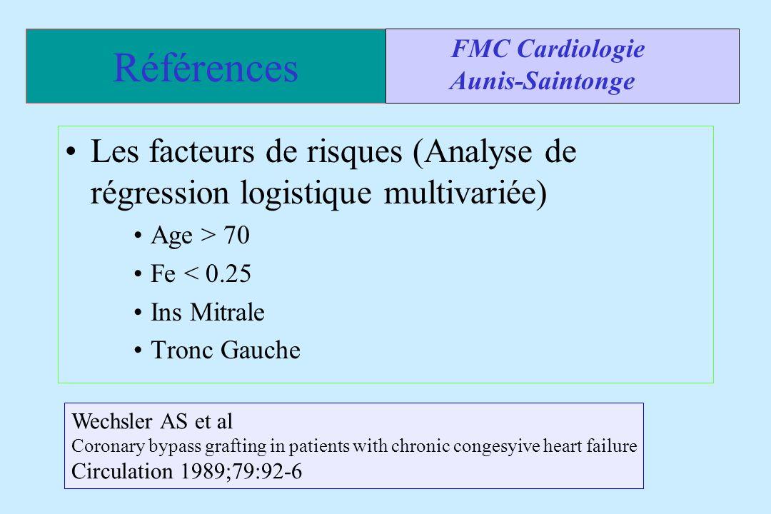 Références FMC Cardiologie. Aunis-Saintonge. Les facteurs de risques (Analyse de régression logistique multivariée)