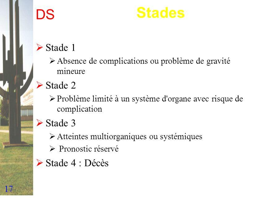 Stades DS Stade 1 Stade 2 Stade 3 Stade 4 : Décès