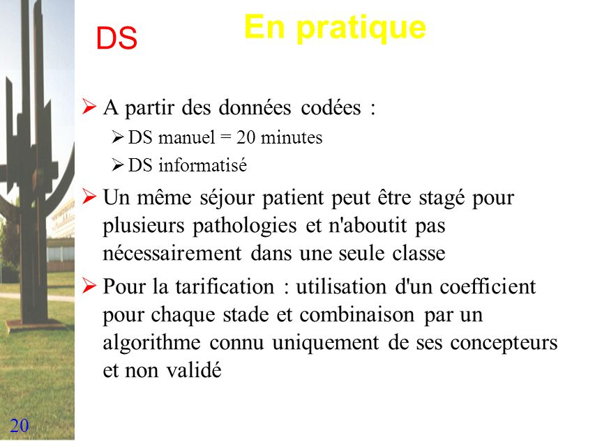 En pratique DS A partir des données codées :