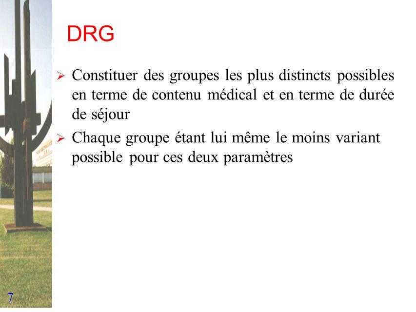 DRG Constituer des groupes les plus distincts possibles en terme de contenu médical et en terme de durée de séjour.