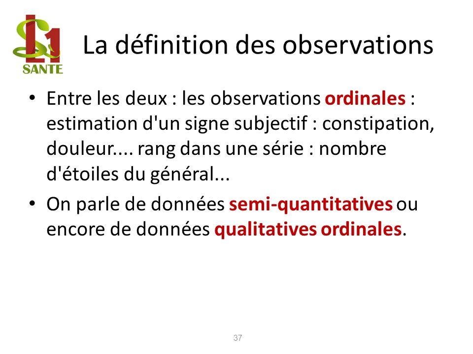 La définition des observations