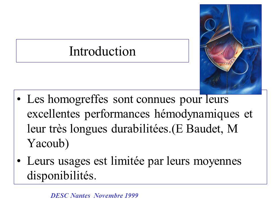 Introduction Les homogreffes sont connues pour leurs excellentes performances hémodynamiques et leur très longues durabilitées.(E Baudet, M Yacoub)
