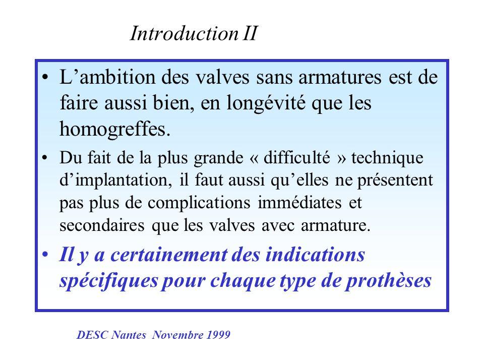 Introduction II L'ambition des valves sans armatures est de faire aussi bien, en longévité que les homogreffes.