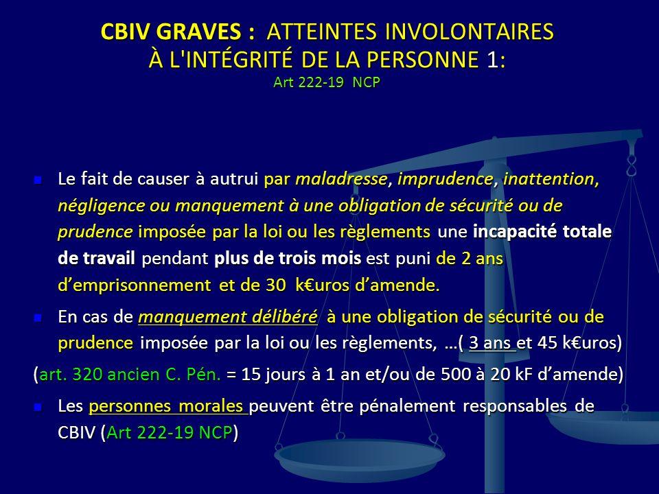 CBIV GRAVES : ATTEINTES INVOLONTAIRES À L INTÉGRITÉ DE LA PERSONNE 1: Art 222-19 NCP
