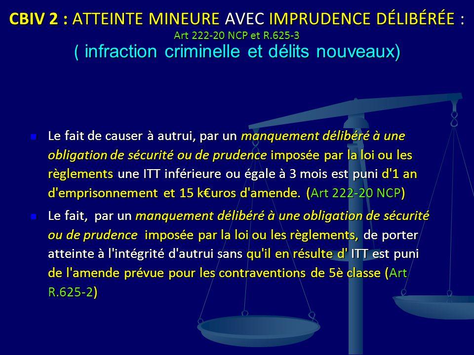 CBIV 2 : ATTEINTE MINEURE AVEC IMPRUDENCE DÉLIBÉRÉE : Art 222-20 NCP et R.625-3 ( infraction criminelle et délits nouveaux)
