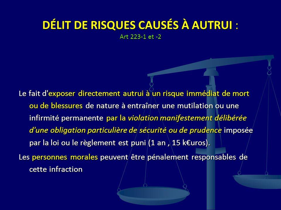 DÉLIT DE RISQUES CAUSÉS À AUTRUI : Art 223-1 et -2