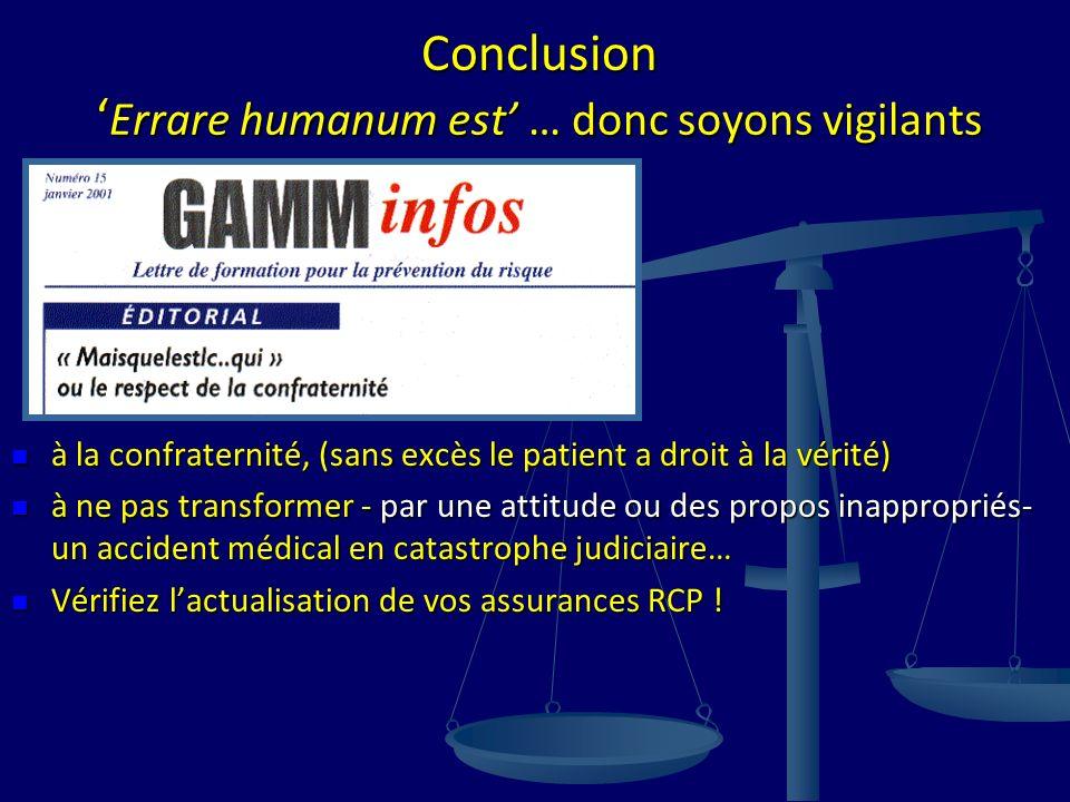 Conclusion 'Errare humanum est' … donc soyons vigilants