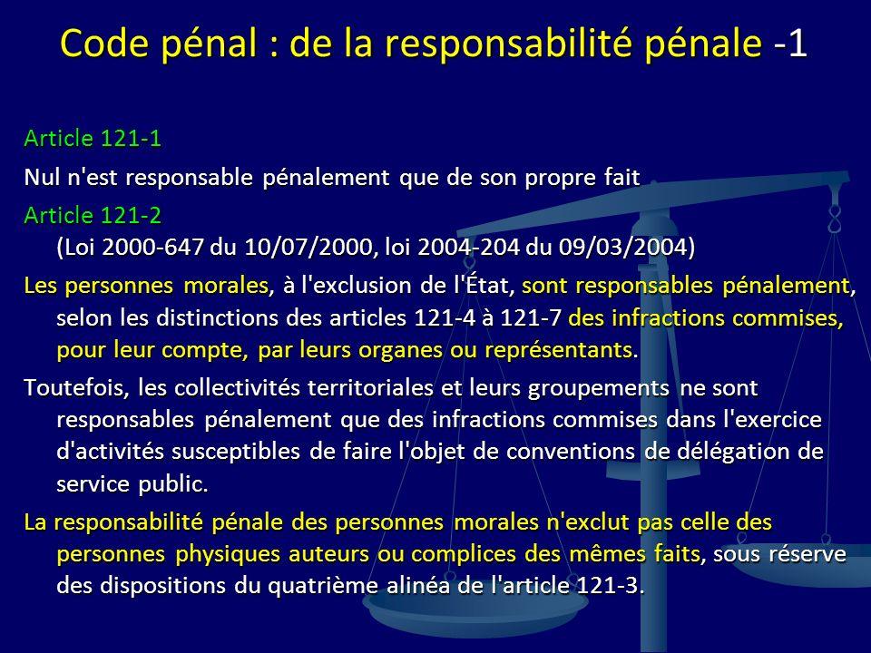 Code pénal : de la responsabilité pénale -1