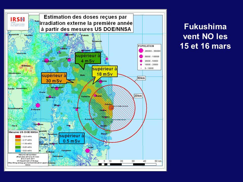 Fukushima vent NO les 15 et 16 mars