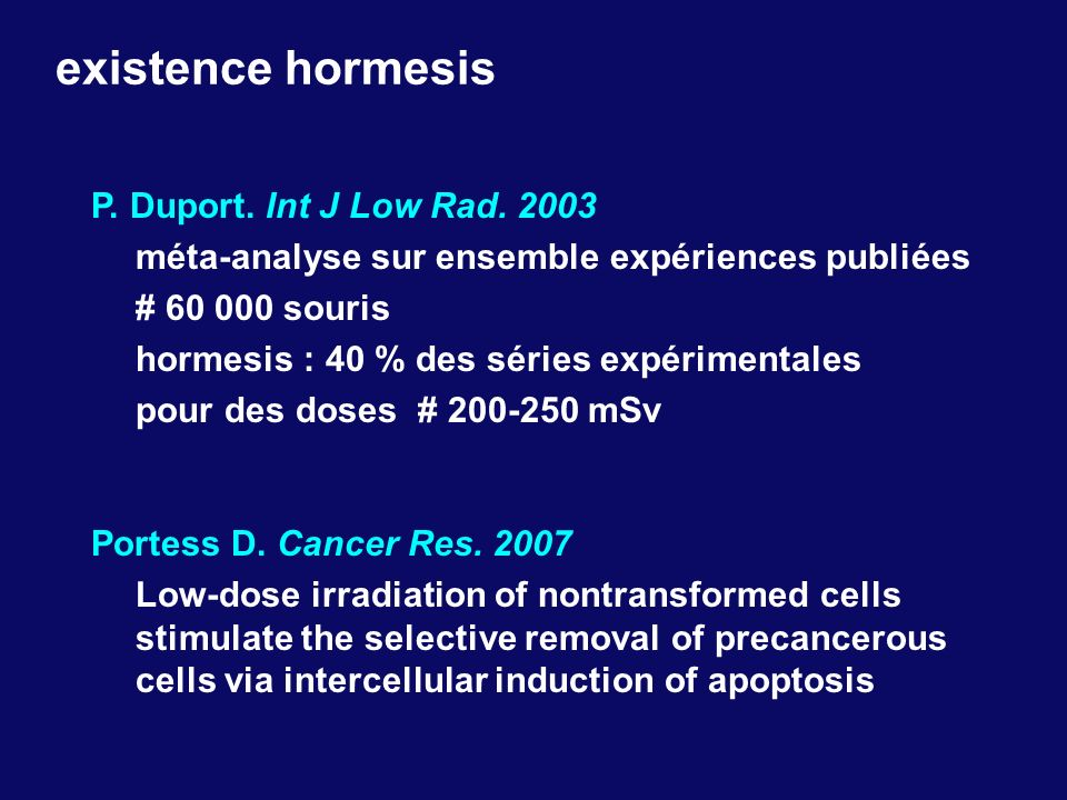 existence hormesis P. Duport. Int J Low Rad. 2003