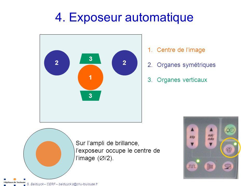 4. Exposeur automatique Centre de l'image Organes symétriques