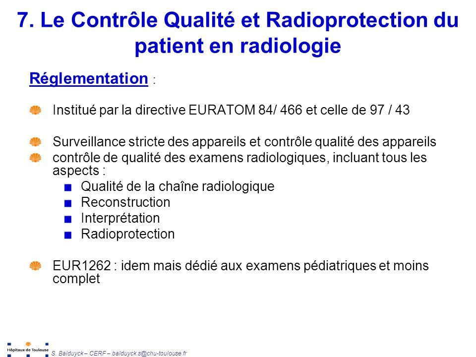 7. Le Contrôle Qualité et Radioprotection du patient en radiologie