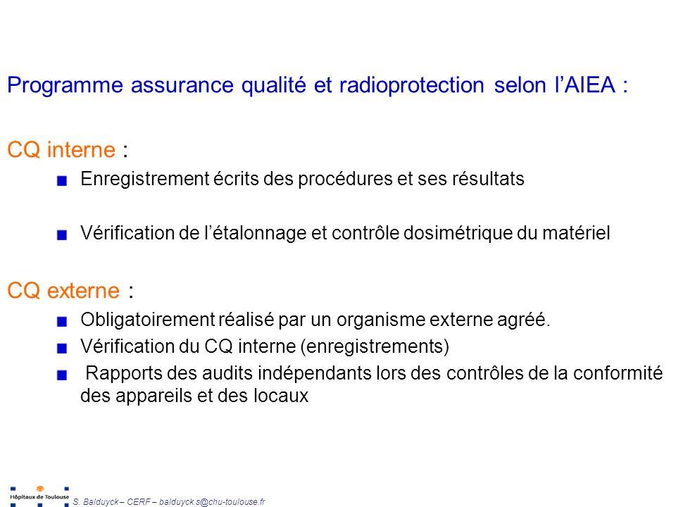 Programme assurance qualité et radioprotection selon l'AIEA :