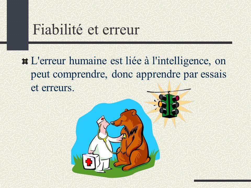 Fiabilité et erreur L erreur humaine est liée à l intelligence, on peut comprendre, donc apprendre par essais et erreurs.