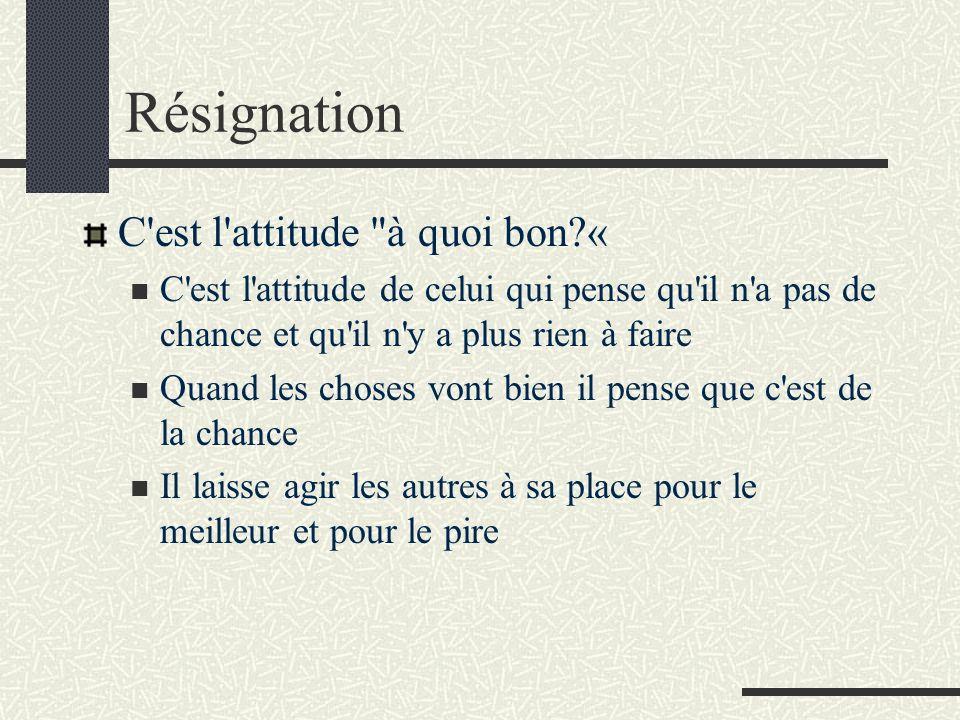Résignation C est l attitude à quoi bon «