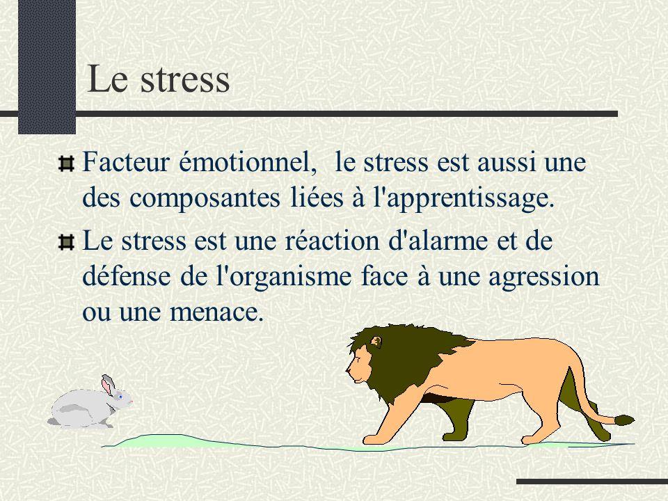 Le stress Facteur émotionnel, le stress est aussi une des composantes liées à l apprentissage.